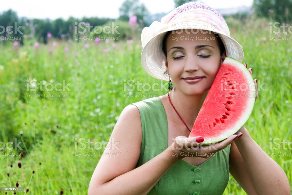 Woman with watermelon royalty-free stock photo