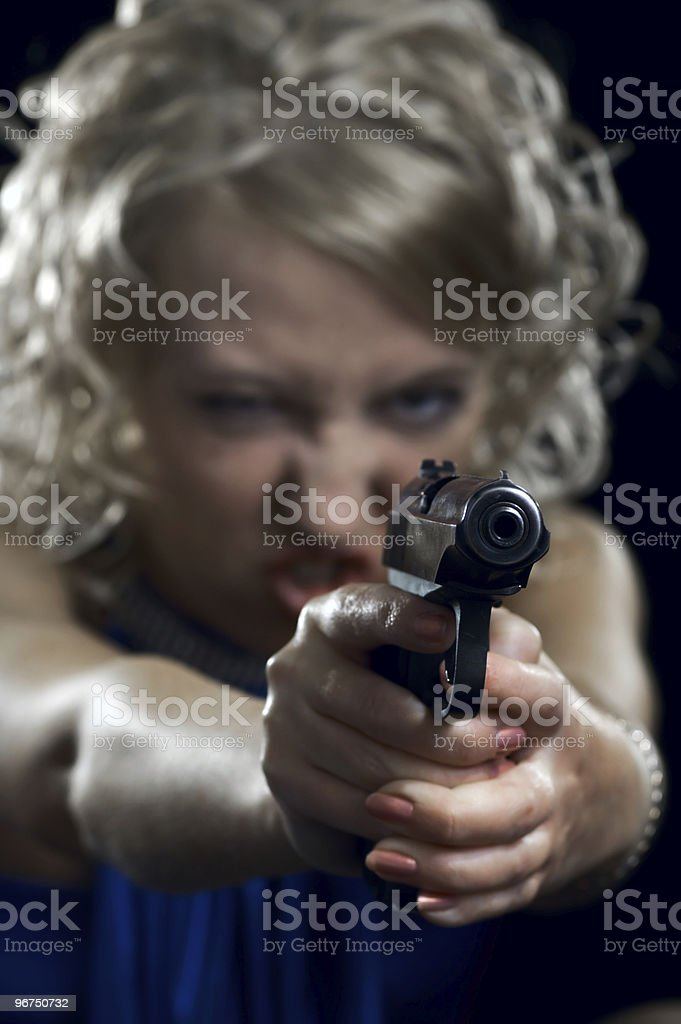 woman with weapon royalty-free stock photo