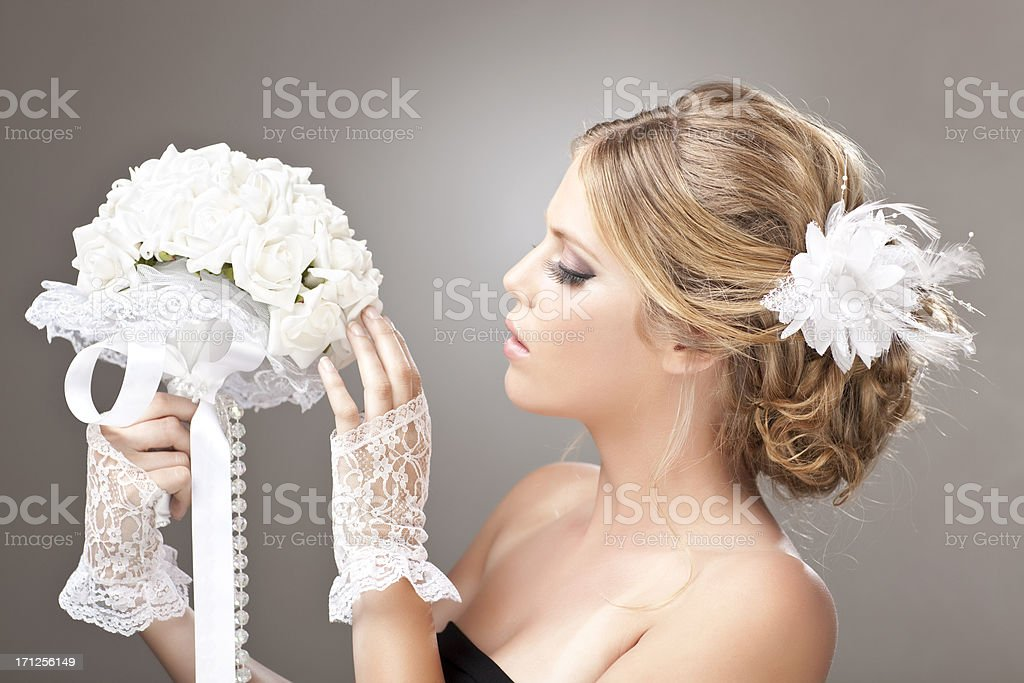 Woman with wedding bouquet. stock photo