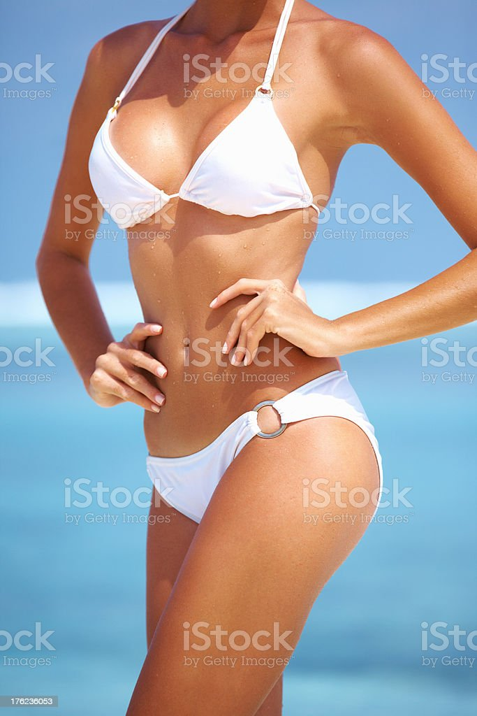 Woman with well toned body stock photo