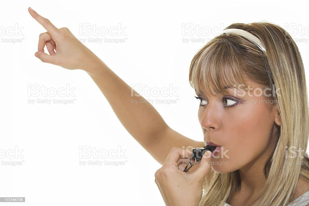 Woman with whistle royalty-free stock photo