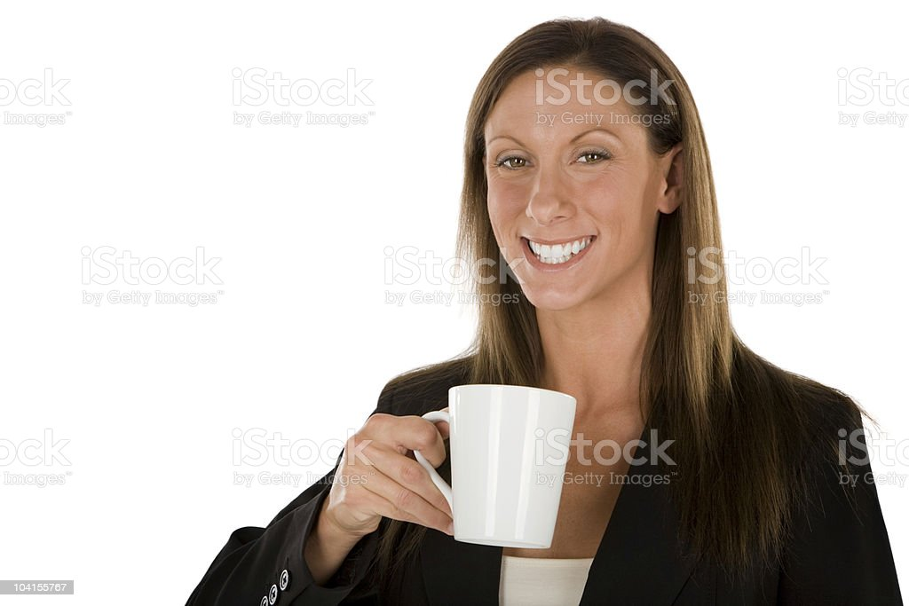 Woman with white coffee cup royalty-free stock photo