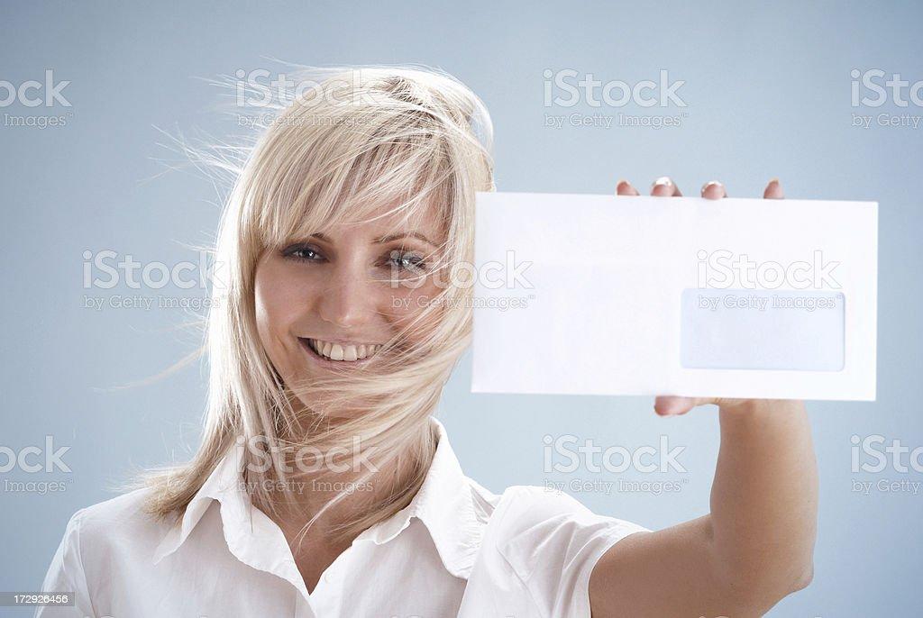 Woman with white envelope royalty-free stock photo