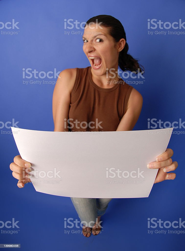 Woman with white paper #2 royalty-free stock photo