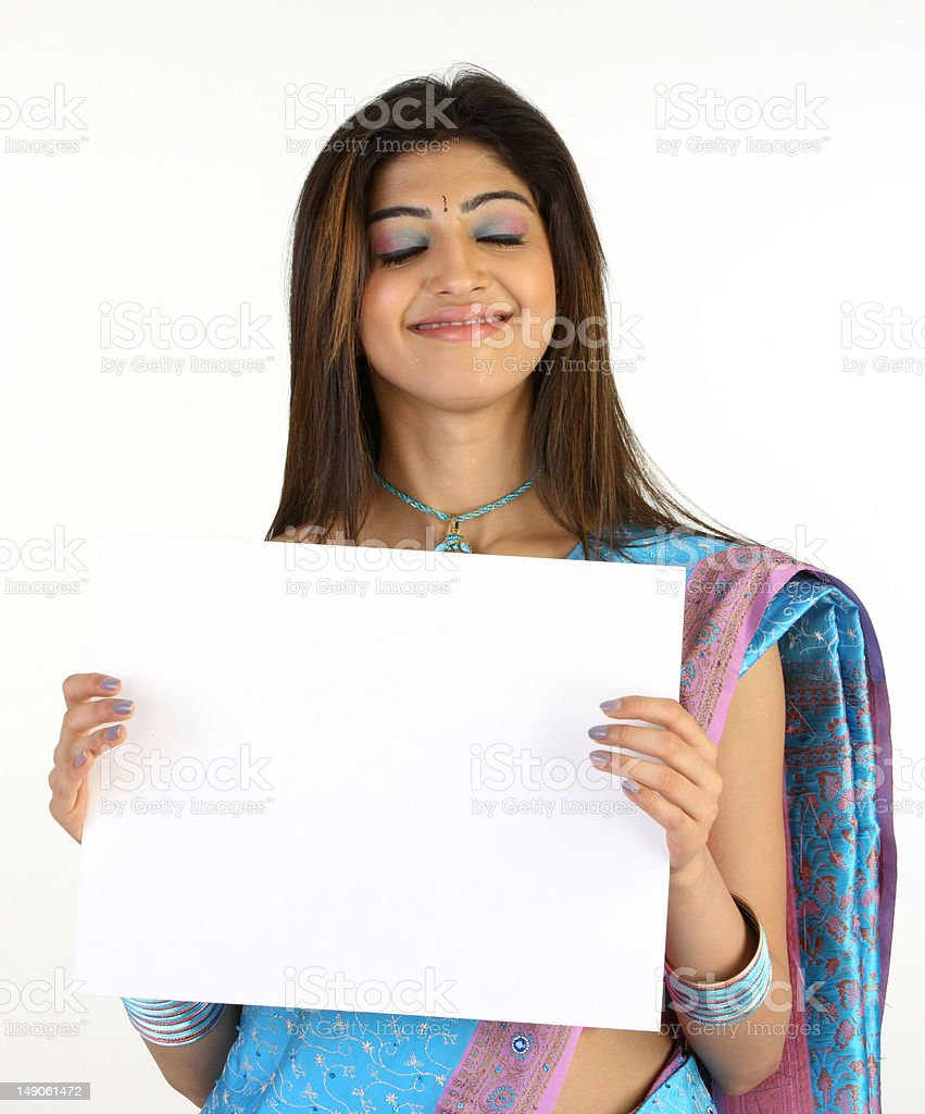Woman with white placard royalty-free stock photo