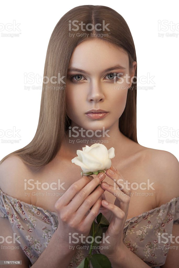 Woman with white rose in her hands royalty-free stock photo