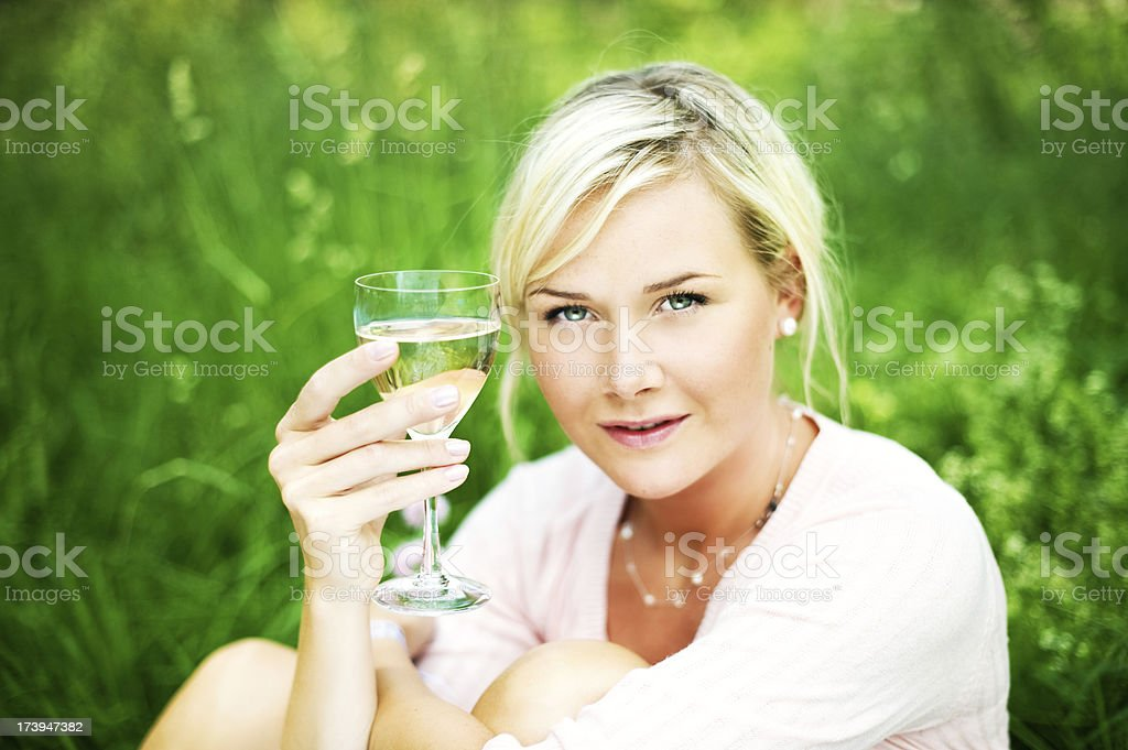 Woman with white wine royalty-free stock photo