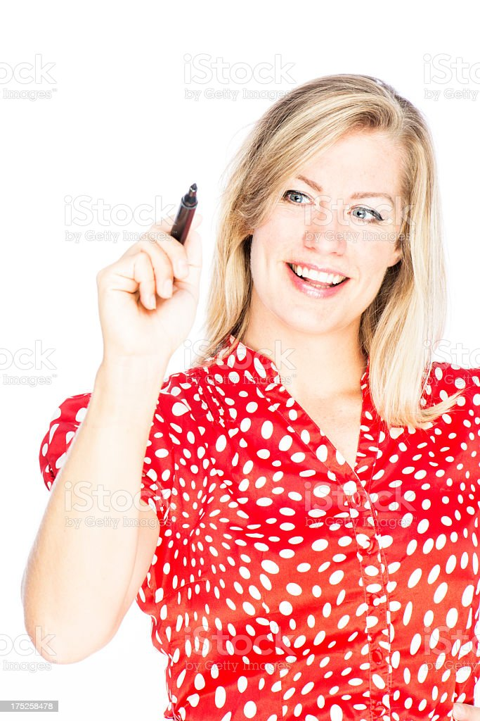 Woman with Whiteboard Marker royalty-free stock photo
