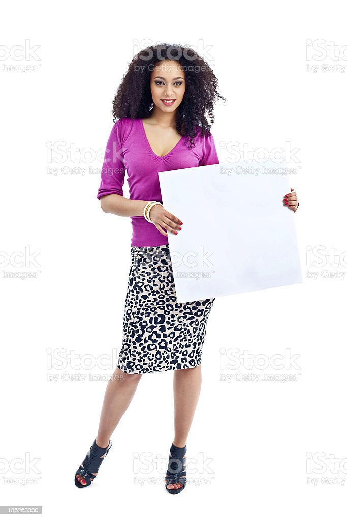 Woman with whiteboard royalty-free stock photo