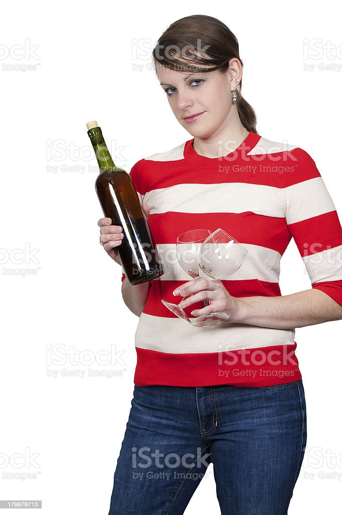 Woman with Wine stock photo