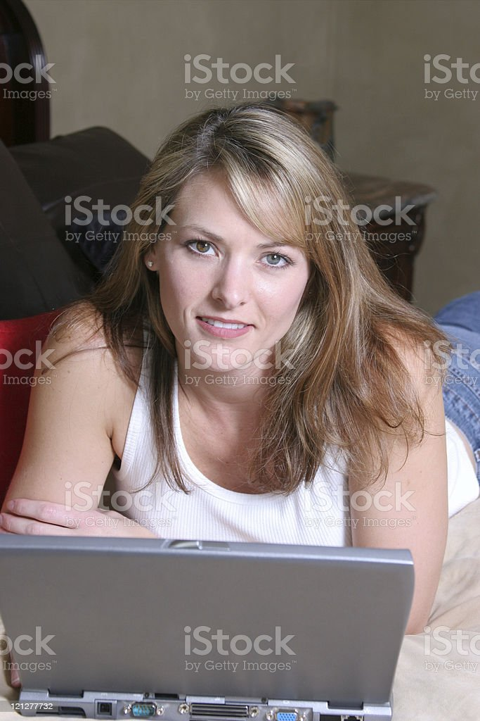 woman with wireless laptop royalty-free stock photo