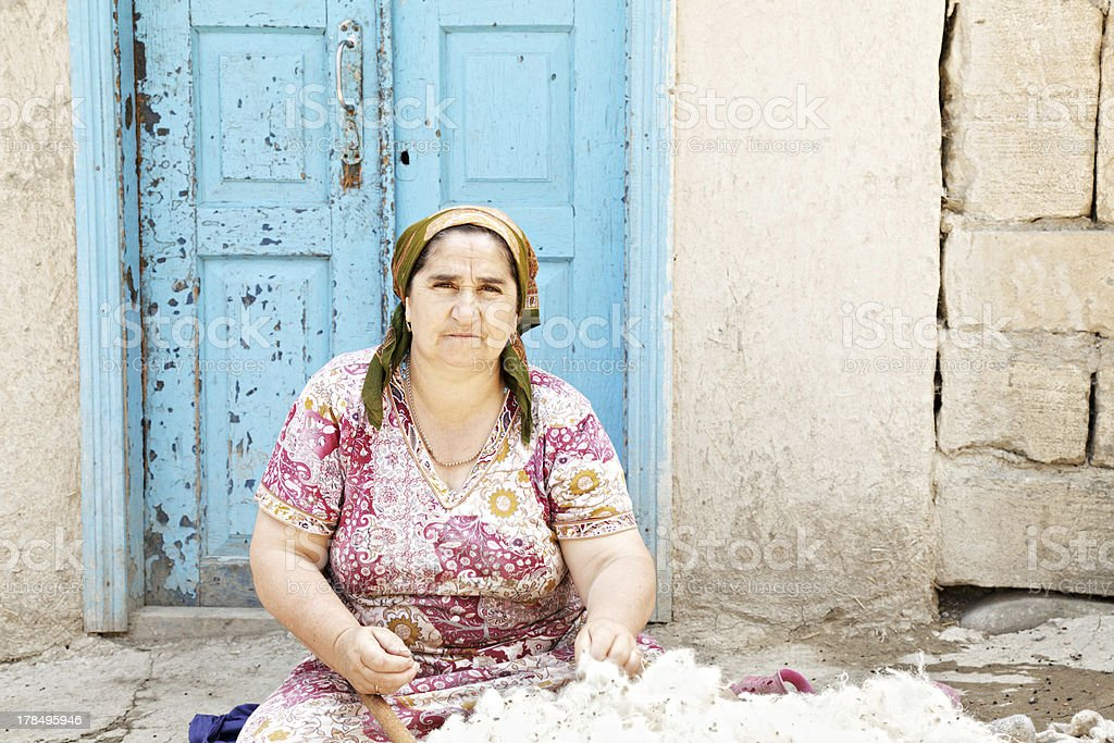 Woman with wool royalty-free stock photo