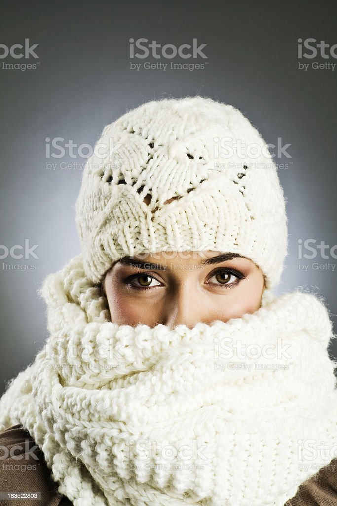 Woman with woolen cap and scarf Vetical stock photo