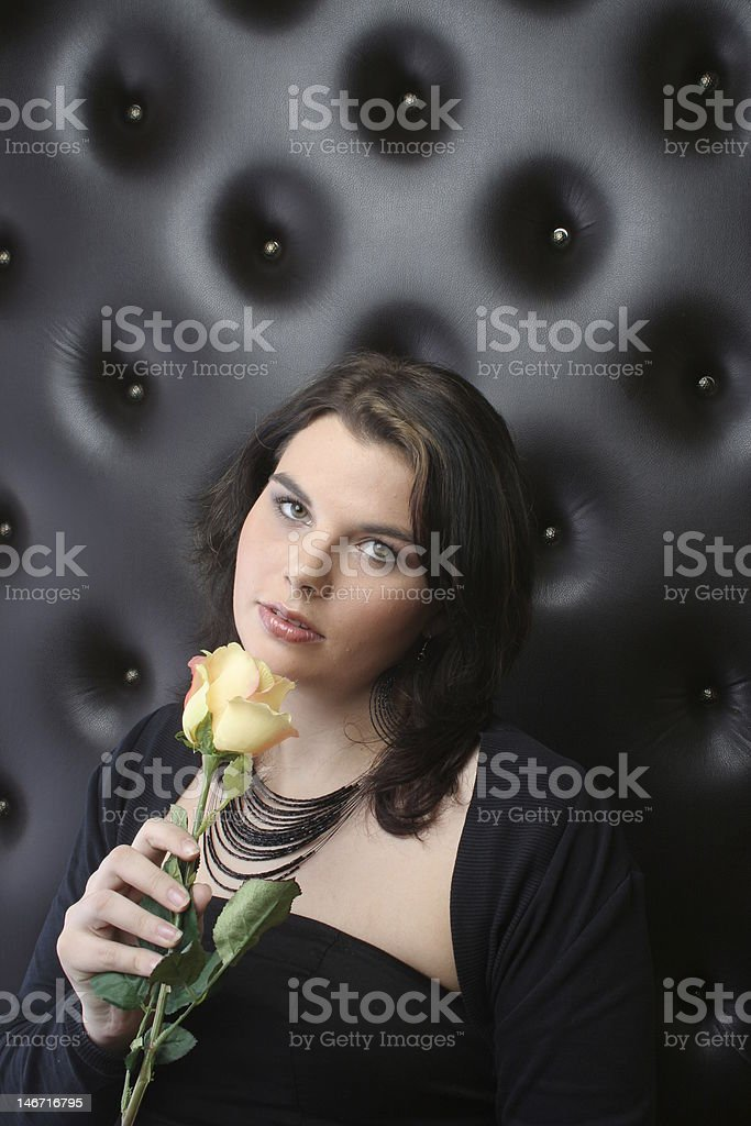 Woman with yellow rose royalty-free stock photo