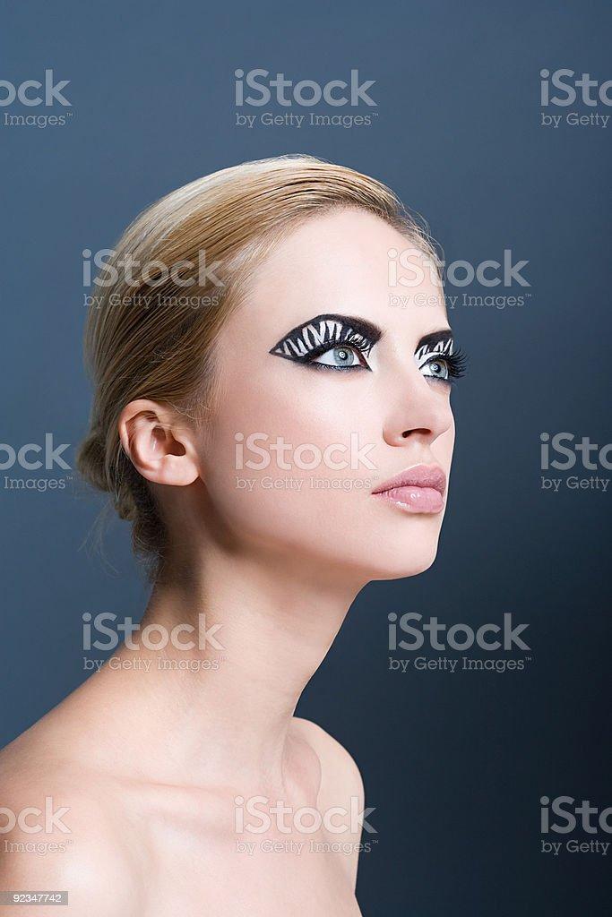 Woman with zebra stripe eye makeup royalty-free stock photo