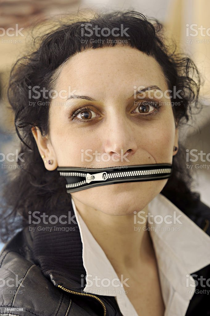 woman with zipper stock photo