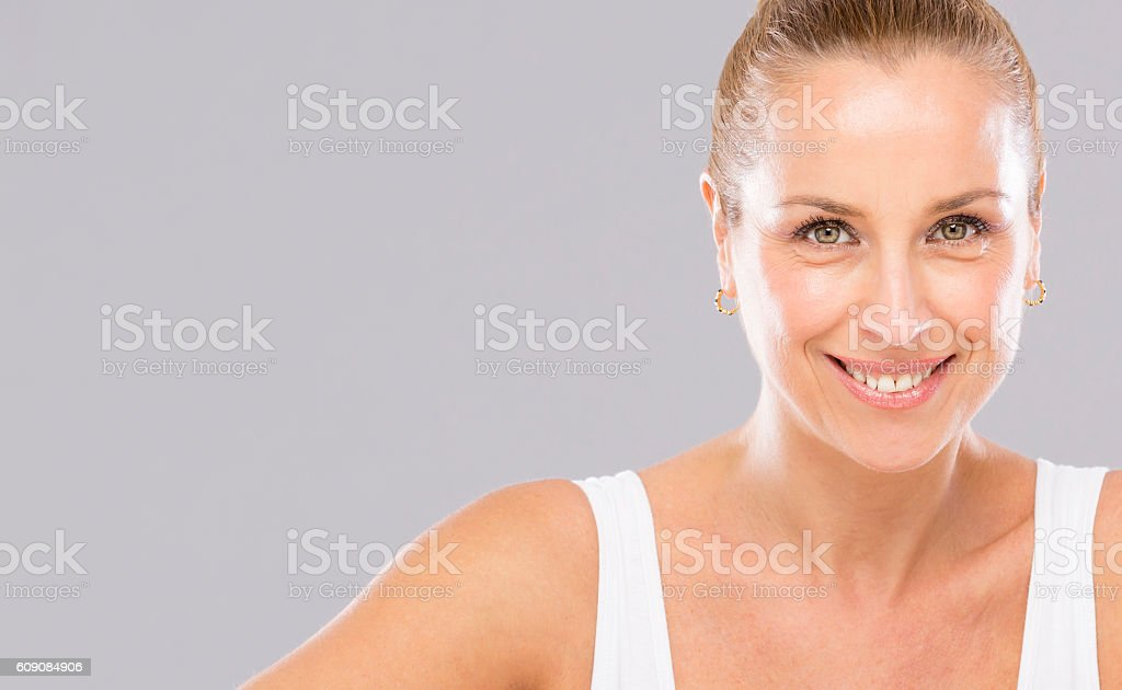 Woman without wrinkles. stock photo