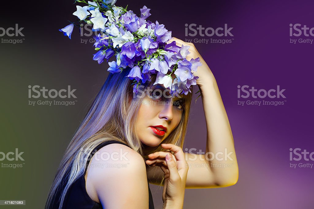 Woman withwith flower wreath. Professional Makeup and hairstyle royalty-free stock photo