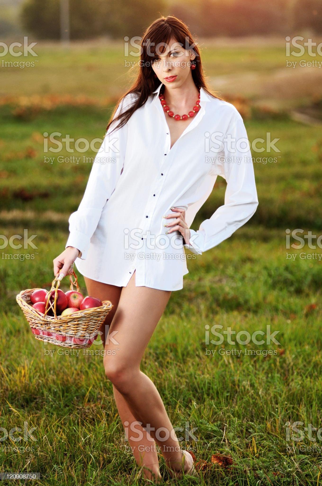 Woman witn basket royalty-free stock photo