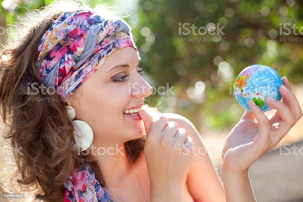 Woman Wondering Were To Travel royalty-free stock photo