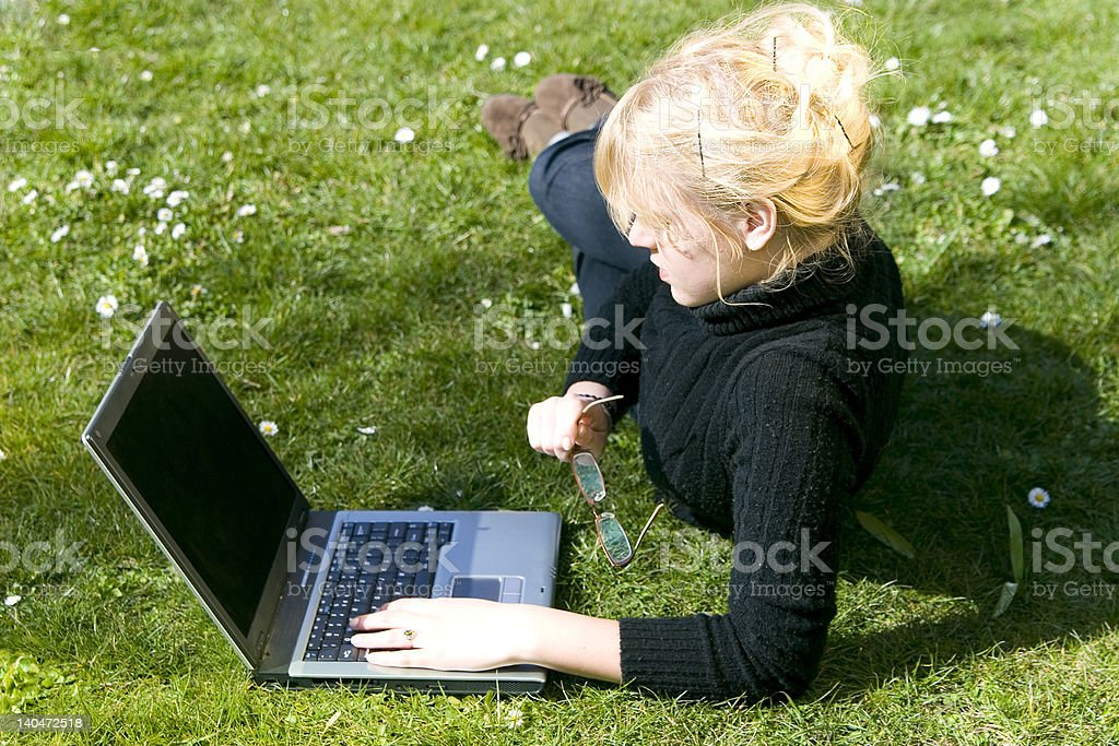 Woman work out of office royalty-free stock photo