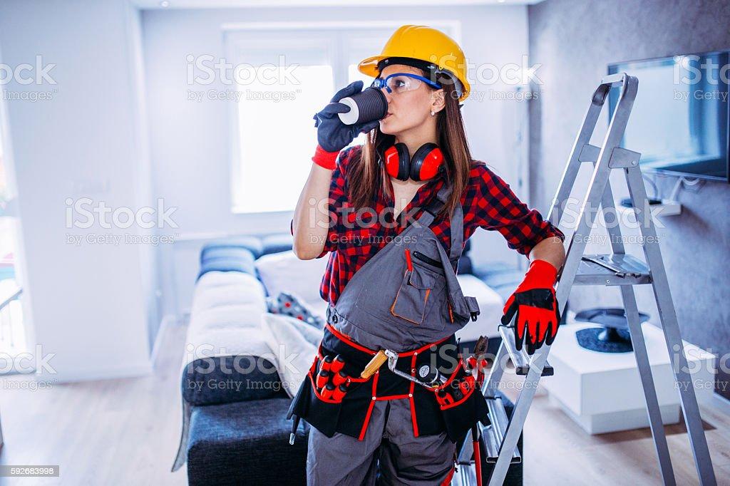 Woman worker coffee break stock photo