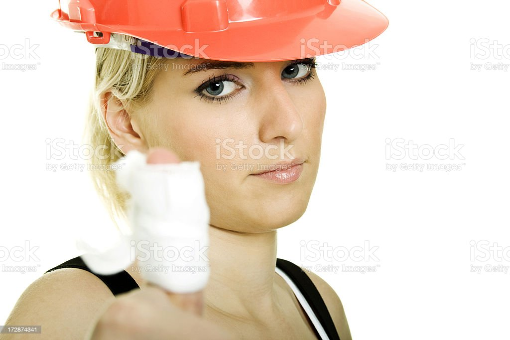 Woman worker with hurt finger royalty-free stock photo