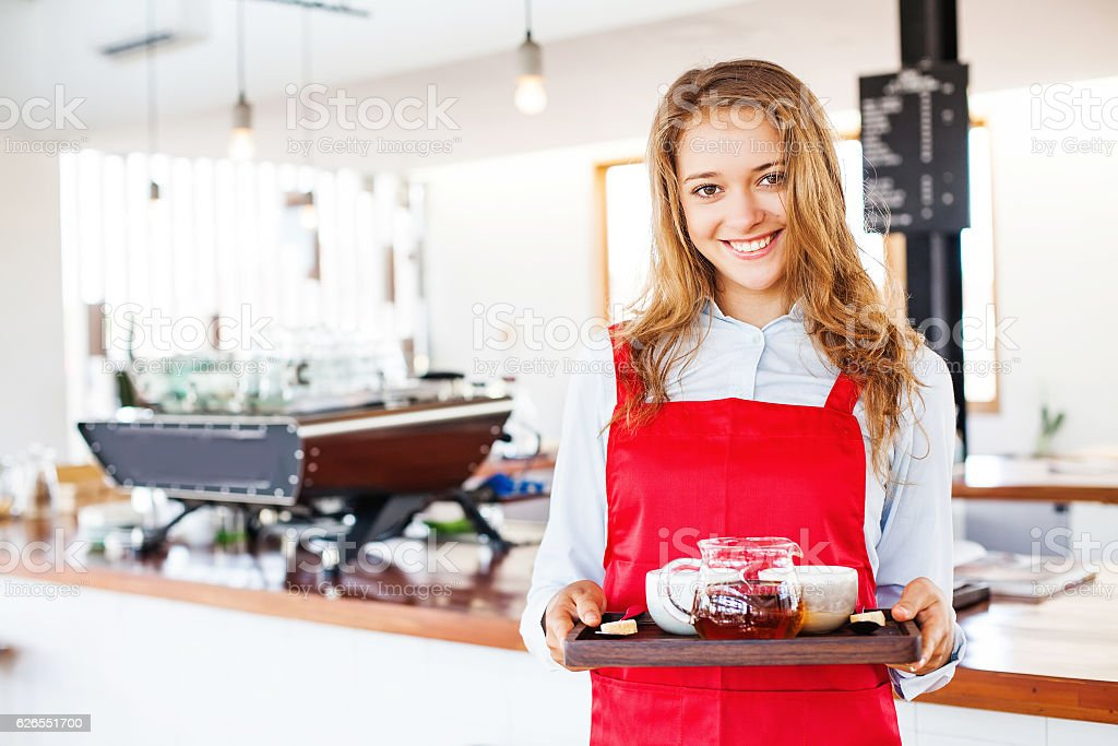 woman working as waitress stock photo