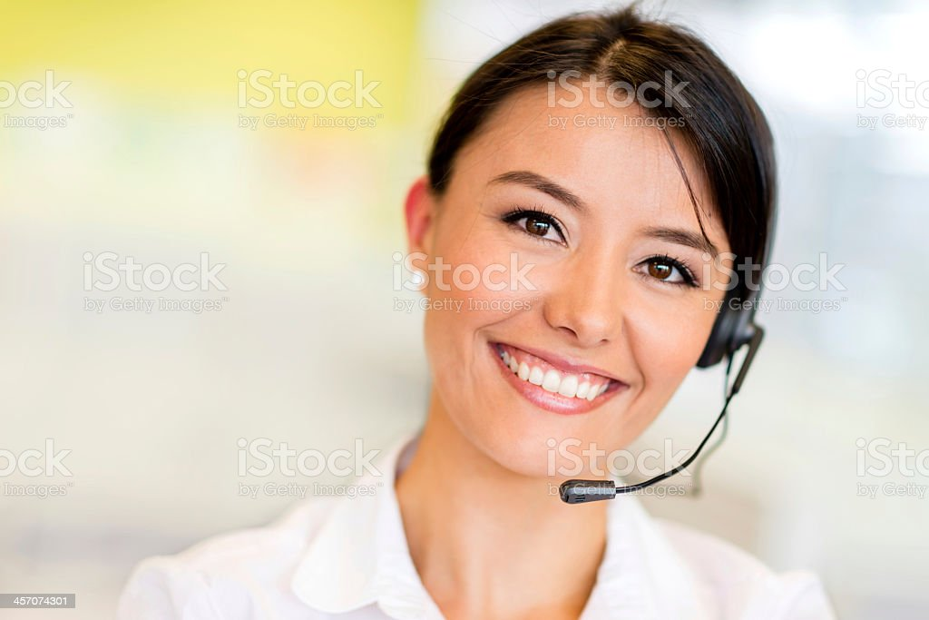 Woman working at a call center stock photo