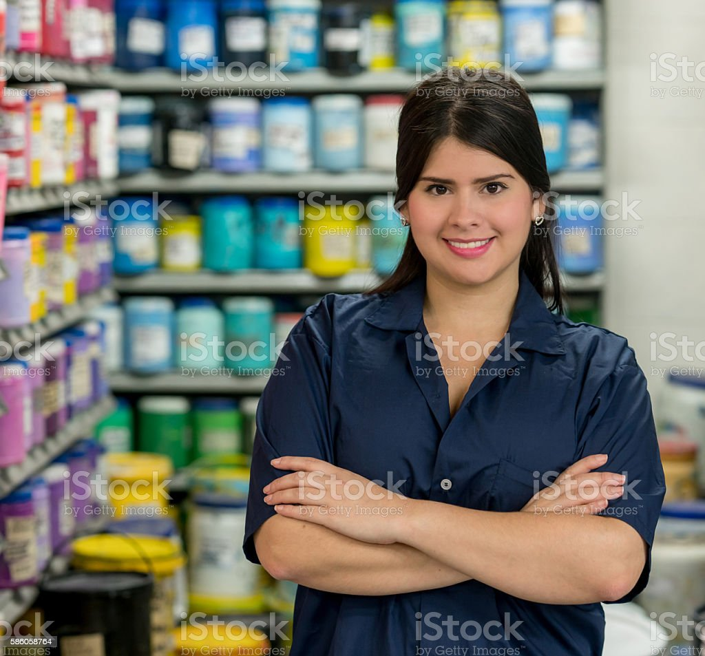 Woman working at a factory stock photo