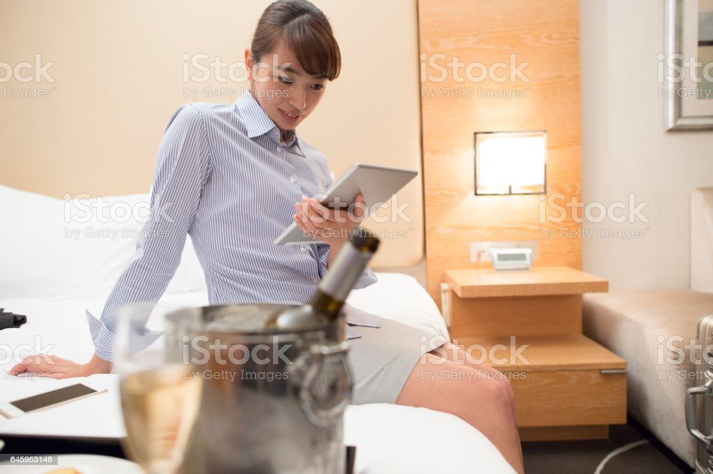 Woman working at a hotel. stock photo