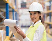 Woman working at a warehouse