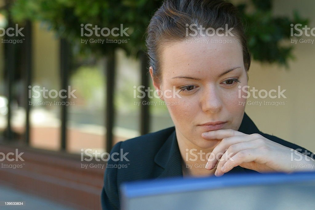 Woman working at computer. stock photo