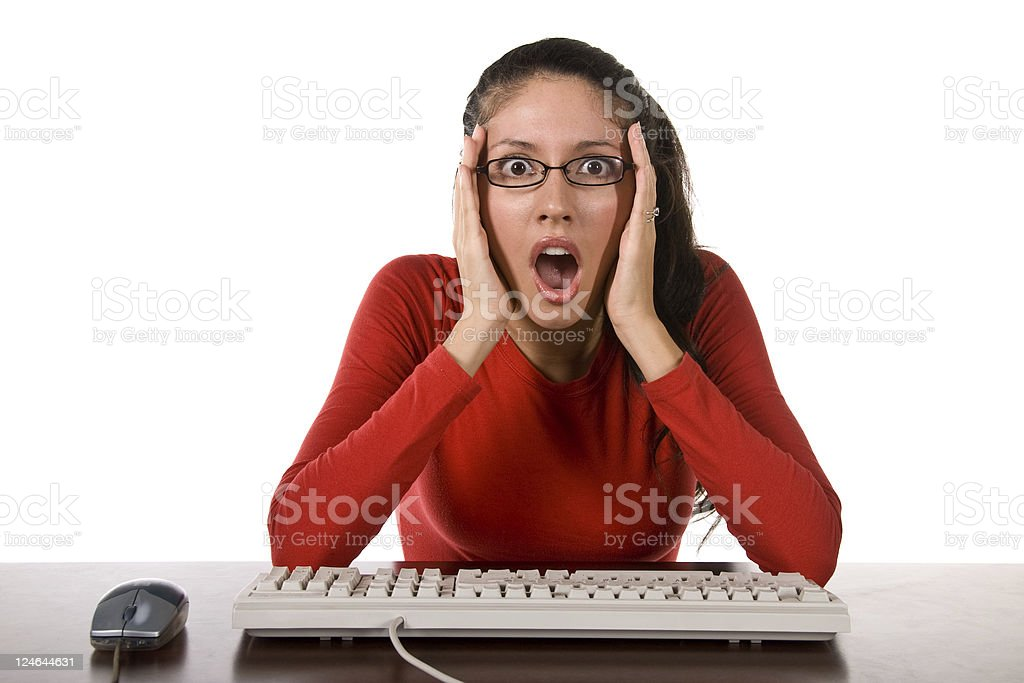 Woman Working at Her Computer royalty-free stock photo