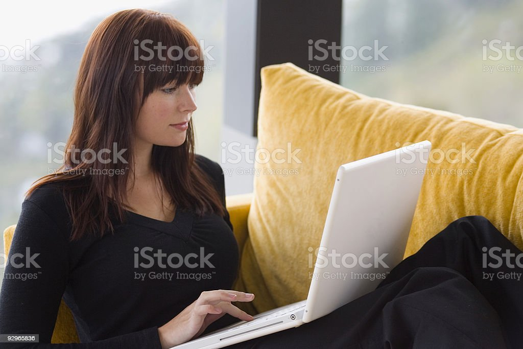 Woman Working At Home On Her Laptop Computer royalty-free stock photo