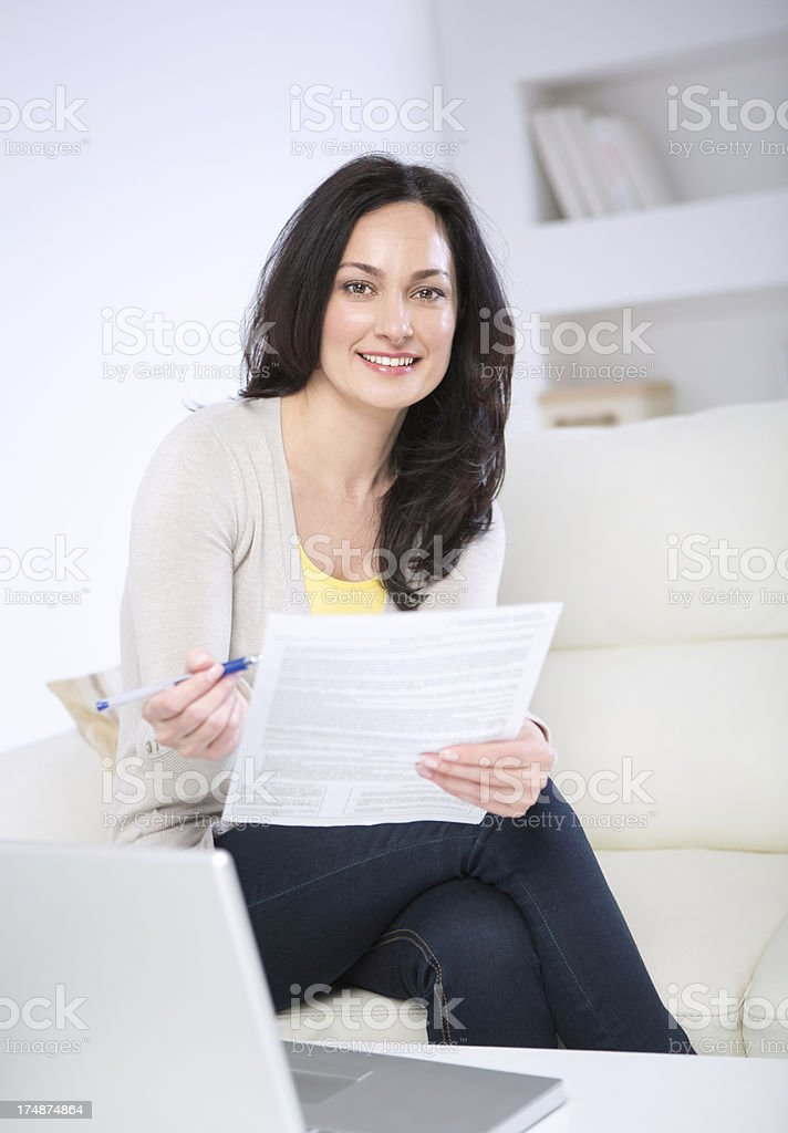Woman working at home royalty-free stock photo