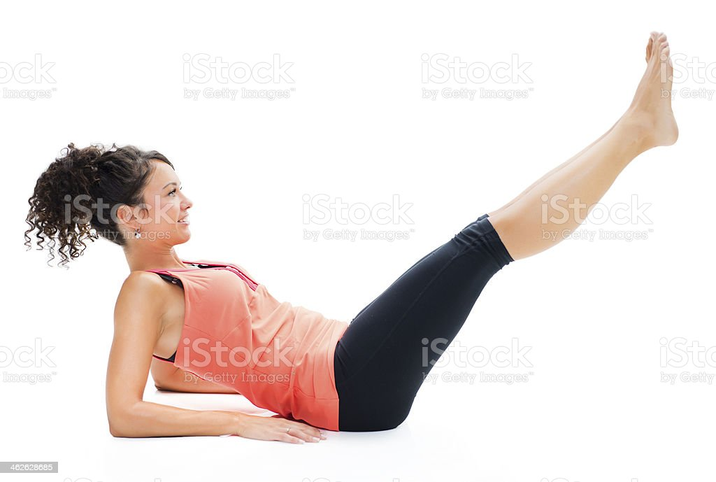 Woman working chrunches royalty-free stock photo