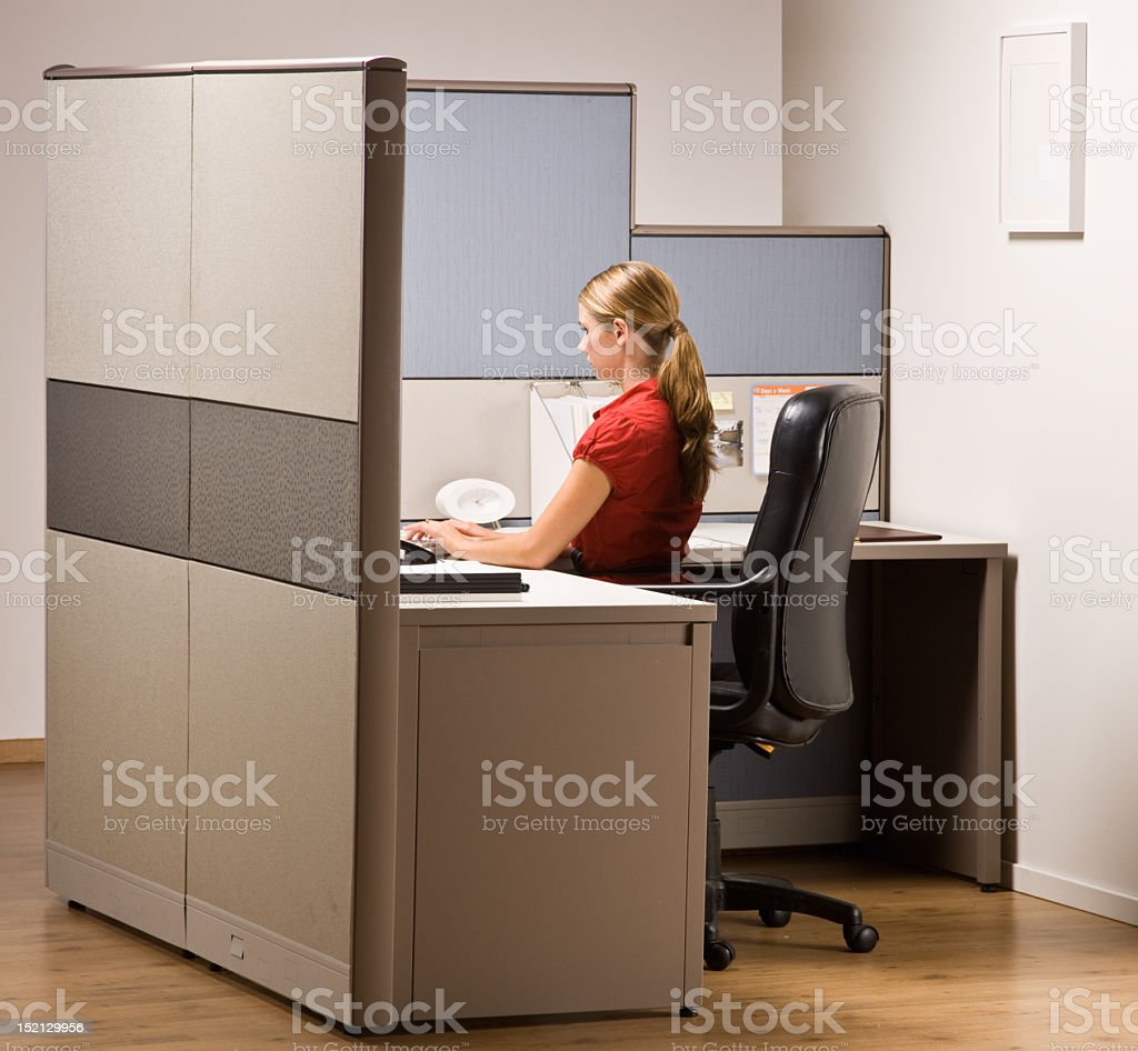 Woman working in a cubicle on her computer stock photo