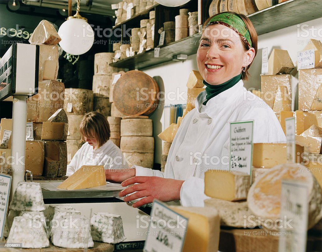 Woman working in Cheese shop, Portrait royalty-free stock photo