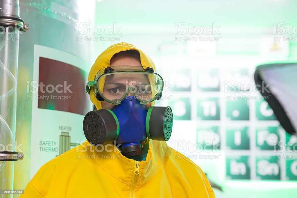 Woman working in chemical laboratory stock photo