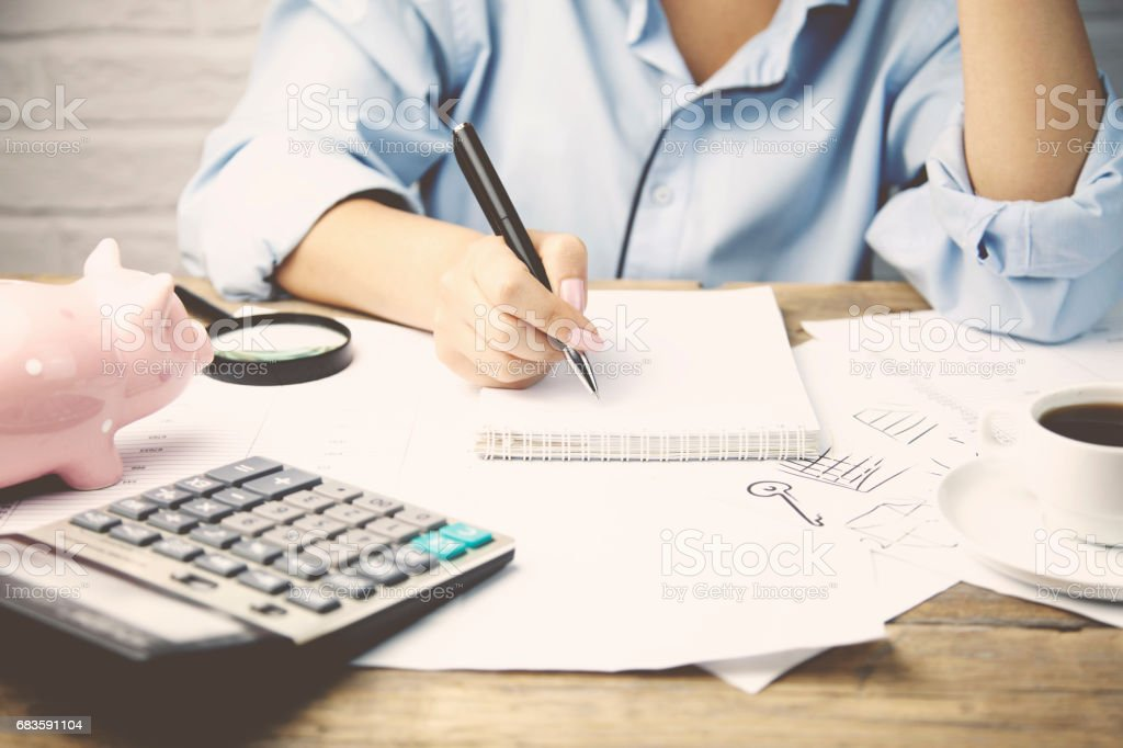 Woman working in office , Financial Advisor. stock photo