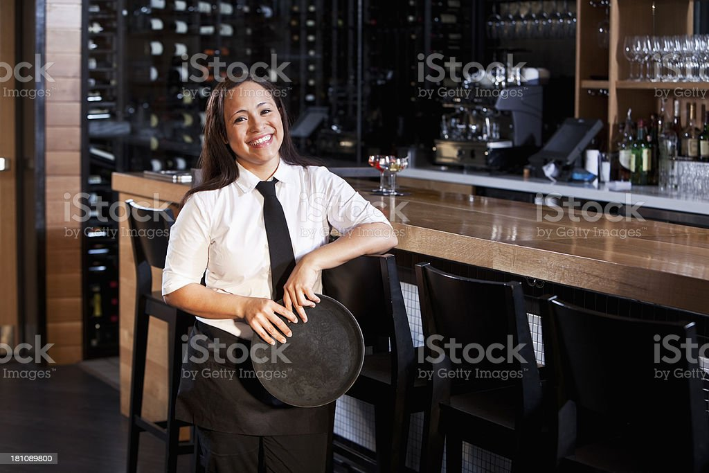 Woman working in restaurant bar royalty-free stock photo