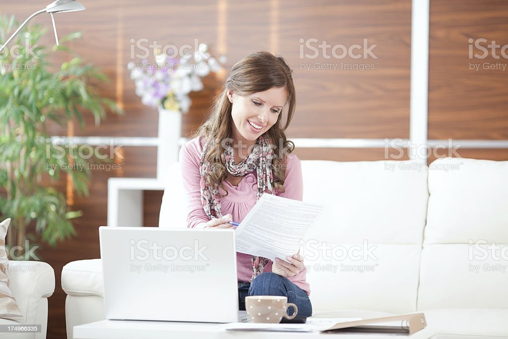 Woman working on laptop. royalty-free stock photo