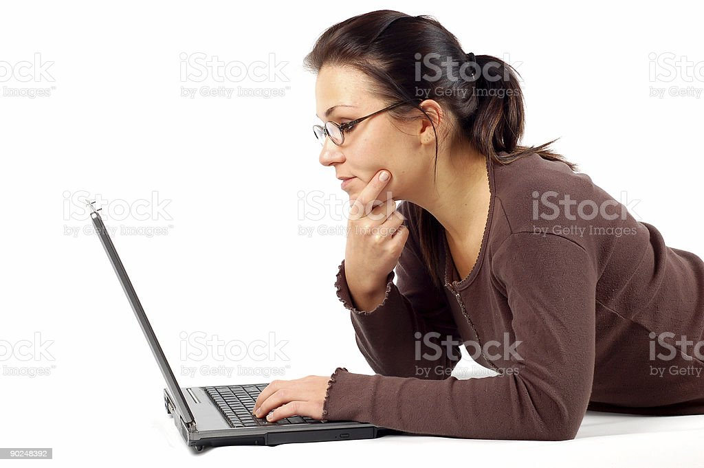woman working on laptop #14 royalty-free stock photo