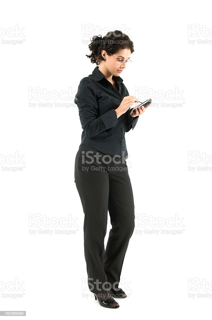 Woman working on PDA royalty-free stock photo