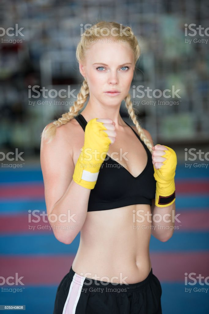 Woman working out, Boxing, Martial Arts, Fitness, Sparring stock photo