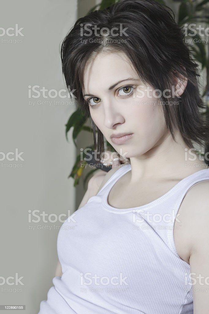 Woman Working Out on Exercise Machine royalty-free stock photo