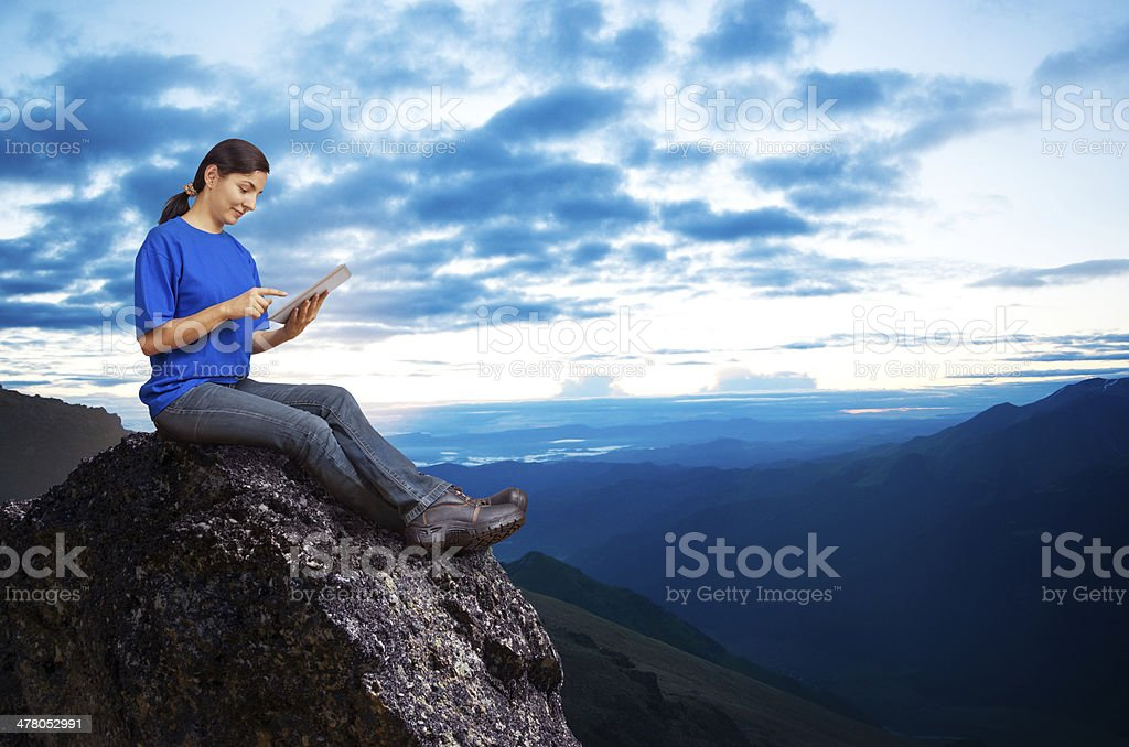 woman working outdoors royalty-free stock photo