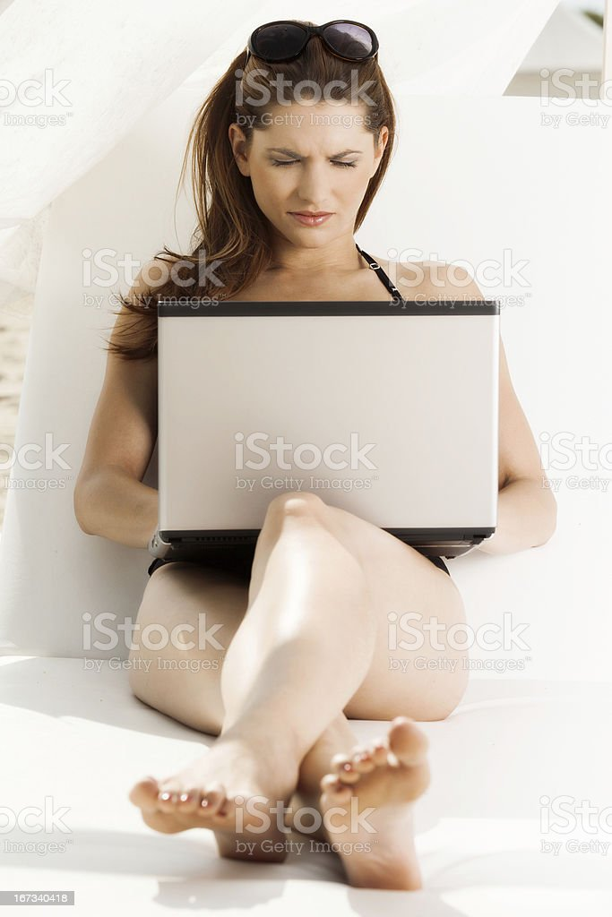 Woman working with laptop. royalty-free stock photo
