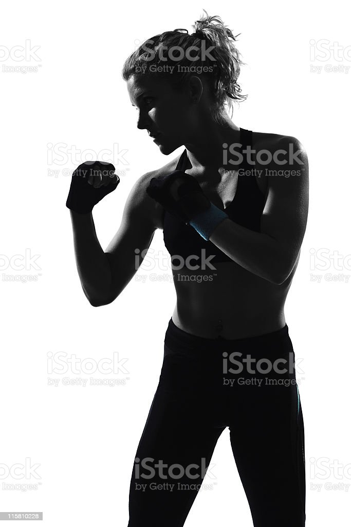 woman workout boxing posture royalty-free stock photo